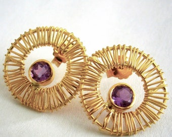 Structures- Earrings Amethyst & Gold