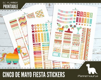 Cinco de Mayo printable planner stickers | fiesta planner instant download | EC vertical planner printables | digital weekly planner sticker