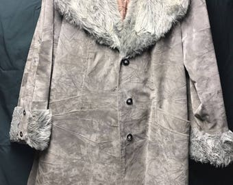 Gray Suede Coat with Gray Fur Collar