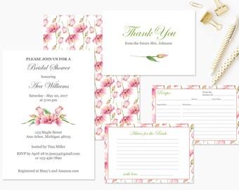 Bridal Shower Invitation set. 5 Wedding Bridal Shower Invite Templates, includes recipe card.  Instant Download PDF Template #FPK-03ls