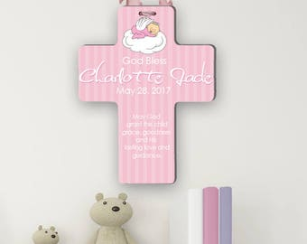 Personalized Baby Christening Cross Custom Communion Baptism Blessings God Bless Baby Plaque PINK Unique Gift Idea Personalized FREE w Name