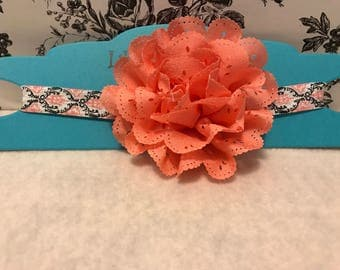Girls coral flower headband/ baby girls pink flower elastic headband