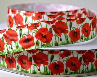 Flower Ribbon, Ribbon By Yard, 5 Yards, Poppy, Grosgrain, Poppy Ribbon, Flower Grosgrain, Red Flower Ribbon, Red Poppy, Ribbon