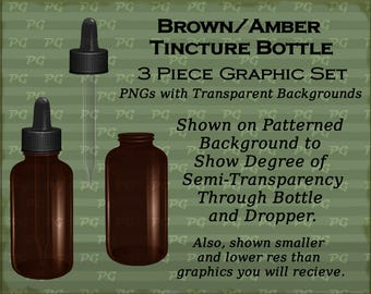 Brown or Amber Tincture Bottle Graphics-3 piece Set PNGs with Transparent Backgrounds