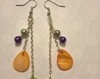 Teardrop and Circle Chain Earrings
