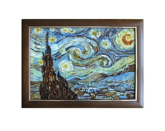 Starry Night, 1889 by van Gogh - reproduction; 25,9''х 18,9''. Genuine amber, and amber sand.
