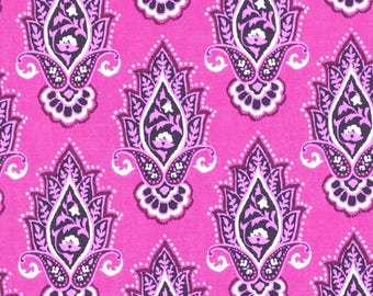 Indian Summer Lotus Flower on Hot Pink Cotton Fabric by Michael Miller - FQ