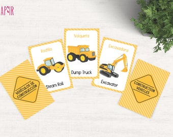Construction Trucks | construction party, construction theme, tractors, caterpillar, excavator, dump truck, memory card game