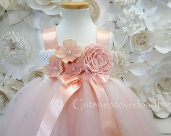 Blush Flower Girl Tutu Dress-Blush Tutu Dress-Blush Girl Tutu-Blush Flower Girl-Blush Wedding Tutu.Blush Tutu.Blush dress