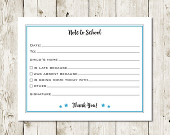 School notes for absences, appointments and carpools.