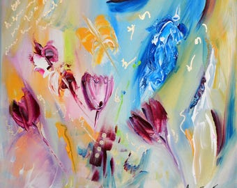 Beautiful tulips abstract contemporary art