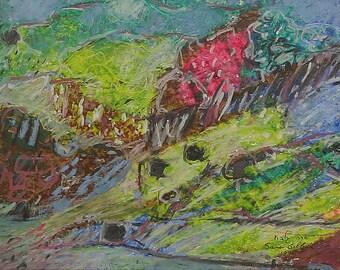 Oil pastel painting,large painting,Holy Land painting,Jerusalem painting,Israeli art,judaica art,landscape painting,mountain painting,gilboa
