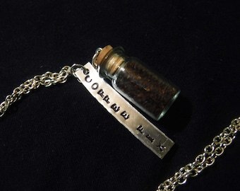 Coffee fix hand stamped Necklace