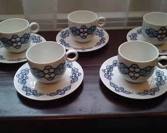 Vintage Franconia K&A Krautheim Selb Bavaria Azure Coffee Cups and Saucers