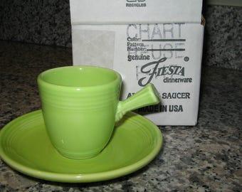 Fiestaware Fiesta Chartreuse Green Demitasse Cup & Saucer Set With Original Box