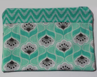 Teal & Grey Floral Topped with a Zigzag Soft Cotton Pouch | Change Purse