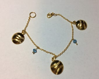 "Bracelet for women ""Tops Swarovski pearls and his Golden balls"""