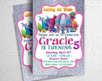 Trolls Invitation, Trolls Birthday Invitation, Trolls Party, Trolls Birthday, Trolls Party Invitation, Trolls Party Printables