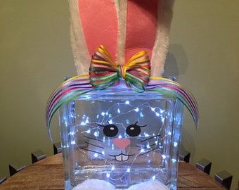 Peter Cottontail- Easter Bunny Glass Block