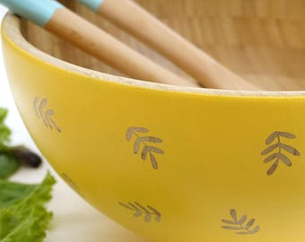 Hand Painted Bamboo Serving Bowl - Fern Design