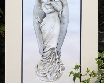 Cemetery angel sculpture painting in watercolour