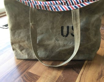 Reclaimed military waxed canvas tote bag