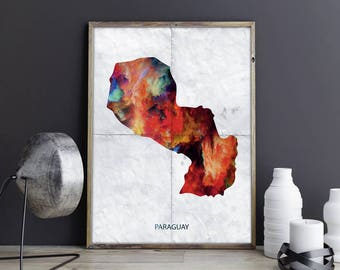 Paraguay Art Paraguay Wall Art Paraguay Wall Decor Paraguay Photo Paraguay Print Paraguay Poster Paraguay Map Country Map Watercolor Map