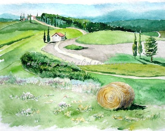 Original watercolor painting, landscape, Italy, Tuscany, watercolor painting, watercolor, summer landscape, wall art, gift
