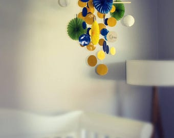 Baby Mobile: Blue, Yellow & Green