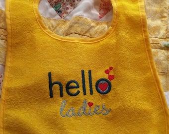 Embroidered Hello Ladies Baby Boy Bib