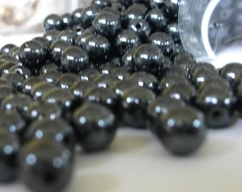 6mm Beads Hematite Czech Glass Round Pressed Druks, Bead Stringing Beaded Jewelry Making Supplies / 6mm Hematite Druk Beads 50
