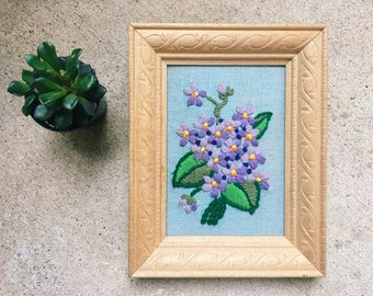 Vintage Embroidered Purple Flowers, Framed Crewel, Needlepoint // SALE
