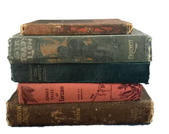 Antique Book Collection (5): Tarzan, SIR Toady, Aesop's Fables, Tom Sawyer & Robinson Crusoe
