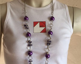 Gemstone necklace and chain to fornare alternation between steel and pearls ... ideal for a gift easy and original as your mom