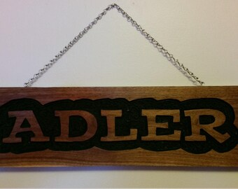Hand routed and painted name wood sign, custom made wood sign, childs wall decor, wood sign, routed sign, unique childs decor