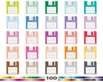 Floppy Disk clipart 100 rainbow colors diskettes save icon retro computer data vector eps png illustration planner stickers clip art set