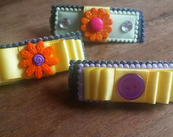 Demim flower trio barrettes