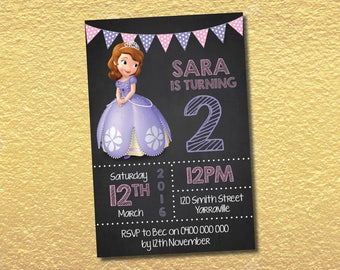 Personalised Princess Sofia the First Birthday Invitations Party Invites