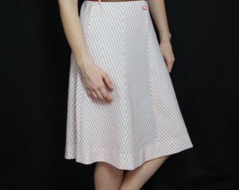 Dress vintage 1960 of geometric pattern, color red, and white short sleeve size 38 - Bohemian/Vintage/romantic
