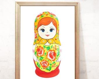 Russian Nesting Doll, Matryoshka Poster, Babushka printable  Digital Print, Folk art print, printable artwork, Instant download