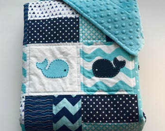 Marine baby quilt with minky backing, and hand sewn whale appliqués - Sea theme - Navy Blue - Ocean Blue -  White - Modern - Homemade
