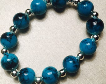 Beautiful Blue Glass Beaded Bracelet