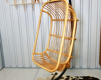 Retro Vintage Mid Century Bamboo Hanging Chair and Stand
