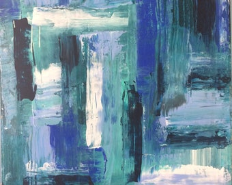 Abstract blue original painting