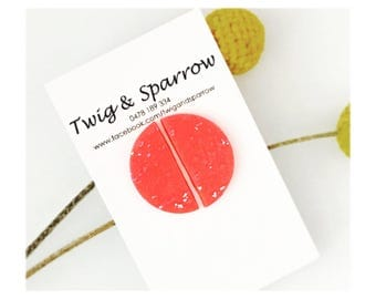 Hot Pink + Silver moon stud earrings
