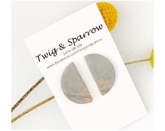 Grey + Copper moon stud earrings
