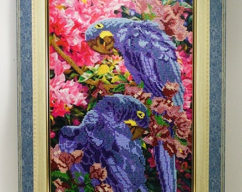 Beaded picture Parrots Macaw blue birds flowers decor gift beadwork embroidery bead art elegant interior design decoration bead-embroidered