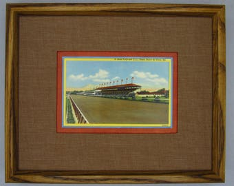 Havre de Grace MD, racetrack and grandstand, horse racing, double matted, custom matting, 8x10, framed ready to hang, unique wall art, 1941.