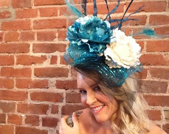 Hats of Dixie, Kentucky Derby Hat, turquoise fascinator, wedding hat