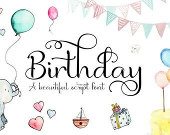 SVG Fonts - Script Font - Calligraphy font - birthday font - Wedding font - Can be used for a photography logo Monogram design